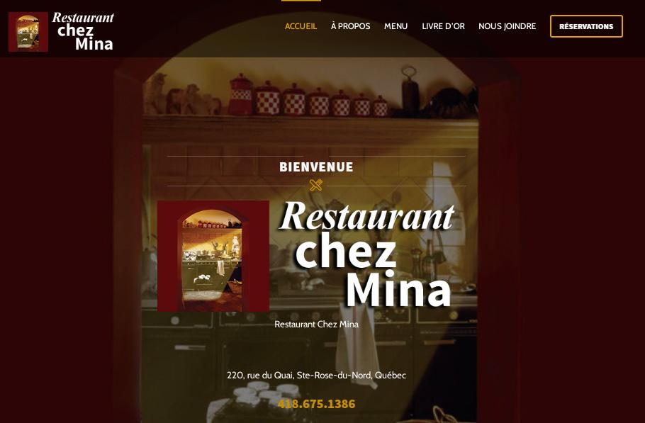 Site Web Restaurant chez Mina